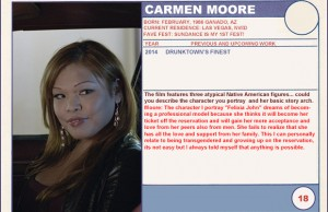 "2014 Sundance ""Trading Cards"" Series: #18. Carmen Moore (Drunktown's Finest)"