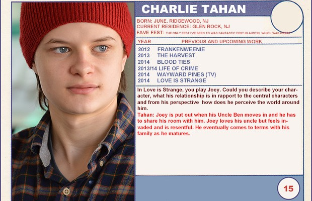 "2014 Sundance ""Trading Cards"" Series: #15. Charlie Tahan (Love is Strange)"
