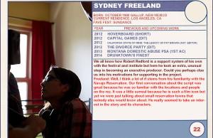 "2014 Sundance ""Trading Cards"" Series: #22. Sydney Freeland (Drunktown's Finest)"