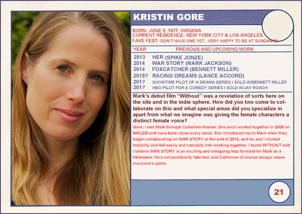 "2014 Sundance ""Trading Cards"" Series: #21. Kristin Gore (War Story)"