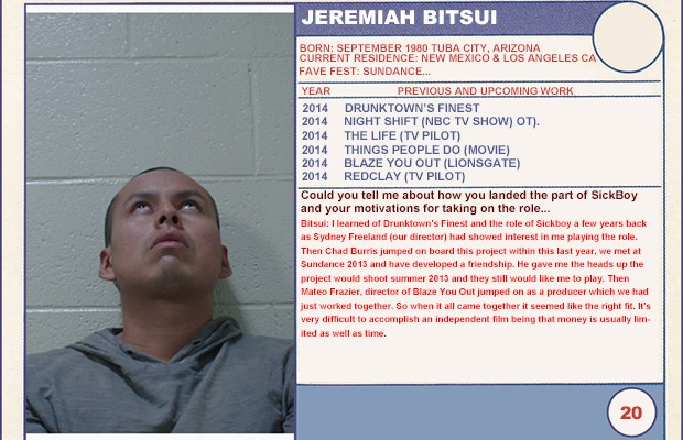 "2014 Sundance ""Trading Cards"" Series: #20. Jeremiah Bitsui (Drunktown's Finest)"