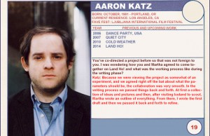 "2014 Sundance ""Trading Cards"" Series: #19. Aaron Katz (Land Ho!)"