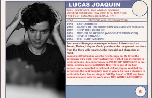"2014 Sundance ""Trading Cards"" Series: #6. Lucas Joaquin (Love is Strange)"