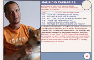 "2014 Sundance ""Trading Cards"" Series: #4. Mauricio Zacharias (Love is Strange)"