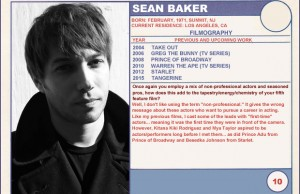Sean Baker Tangerine Trading Cards