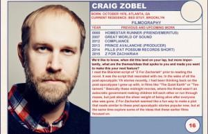 Craig Zobel Z for Zachariah Sundance Trading Cards