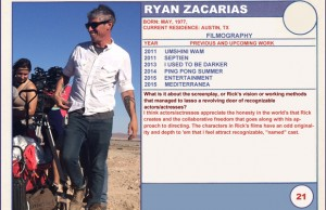 2015 Sundance Trading Card Series: #21. Ryan Zacarias (Entertainment)