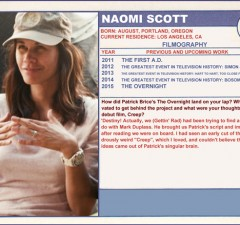 Naomi Scott The Overnight Trading Cards Series