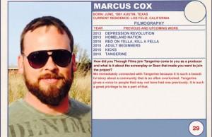 2015 Sundance Trading Card Series: #29. Marcus Cox (Tangerine)