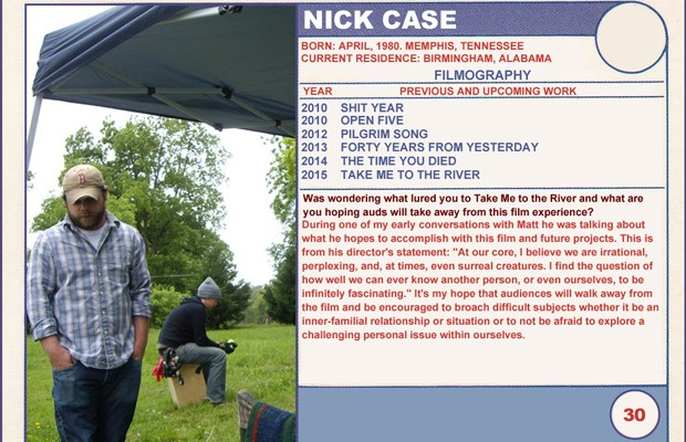 2015 Sundance Trading Card Series: #30. Nick Case (Take Me to the River)