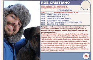 2015 Sundance Trading Card Series: #20. Rob Cristiano (Bob and the Trees)