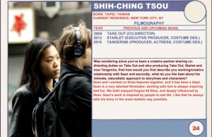 2015 Sundance Trading Card Series: #24. Shih-Ching Tsou (Tangerine)
