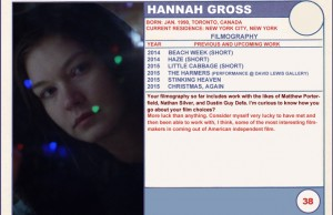 2015 Sundance Trading Card Series: #38. Hannah Gross (Christmas, Again)
