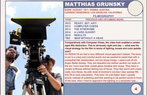 2015 Sundance Trading Card Series: #4. Matthias Grunsky (Results)