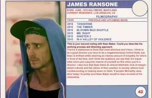 2015 Sundance Trading Card Series: #42. James Ransone (Tangerine)