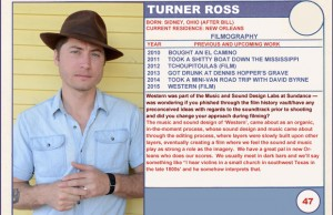 2015 Sundance Trading Card Series: #47. Turner Ross (Western)