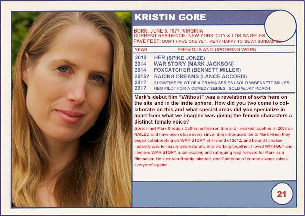 "2014 Sundance ""Trading Cards"" Series: #21. Kristin Gore (War Story)"