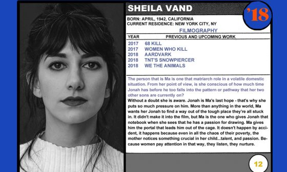2018 NEXT Section Sundance Trading Card Series: #12. Sheila Vand (We the Animals)